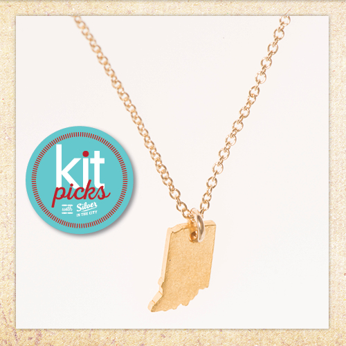 Kit picks - Tiny Indiana State Charm Necklace, Gold-Dipped